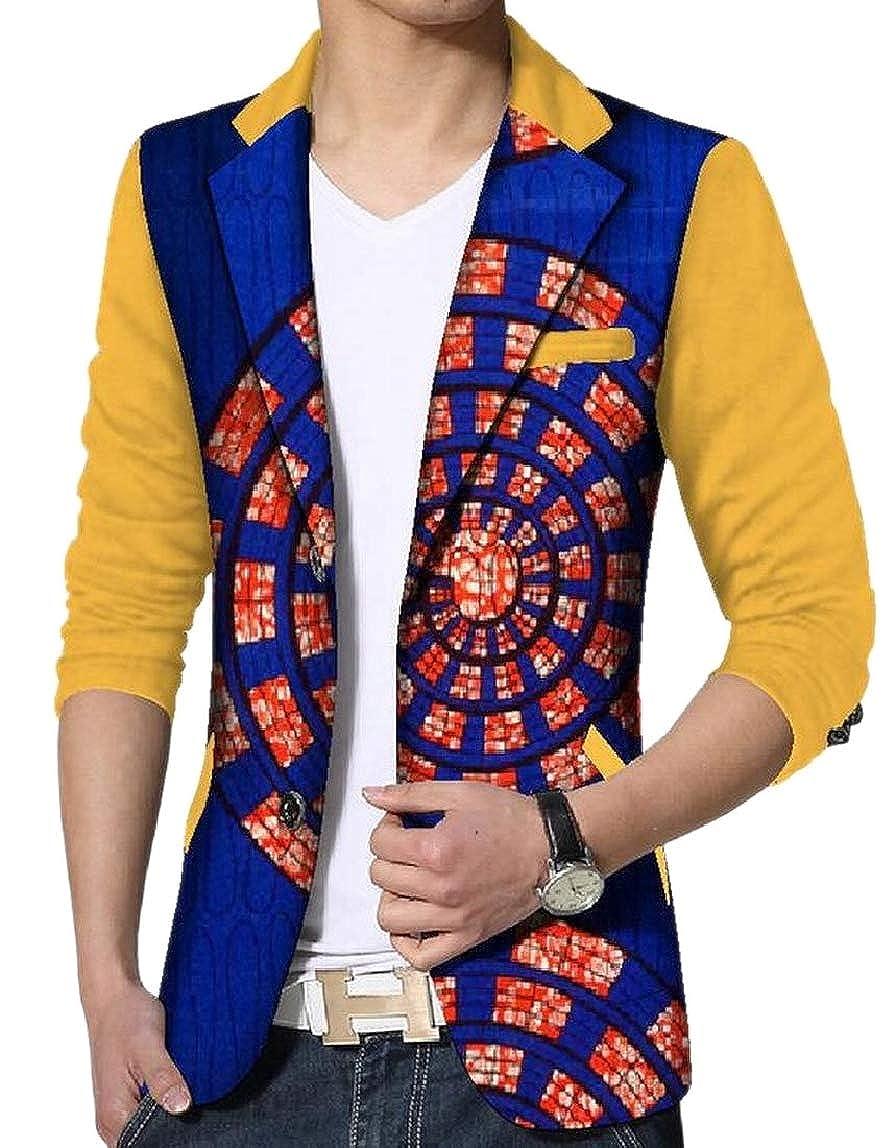 a4f40ce80a2 10 10 10 LKCEN-CA Men's Suit Coat Tops Plus-Size African Print Blazer  Fashion Coat cab32e