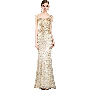 Womens Sequined Off The Shoulder Evening Dress High End Shine Prom