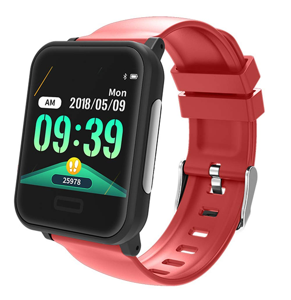 YANGYA Ip67 Waterproof Men's and Women's Fitness Watch, Fitness Tracker with Pedometer Sleep Monitor, Compatible with Android iOS-red by YANGYA