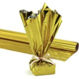 Hygloss Products Mylar Gift Wrap Roll - Great for Gift Bags, Baskets – 24 Inch x 8 Feet, Gold
