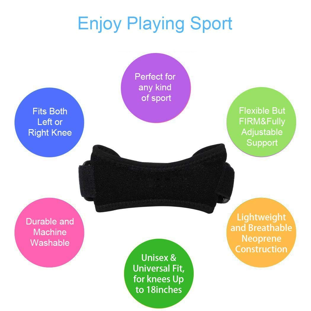 POWERIVER 2 Pack Knee Strap, Adjustable Tendon Patella Knee Strap For Pain Relief, Adjustable Knee Support Brace Pads for Jumping, Running,Outdoor Sports