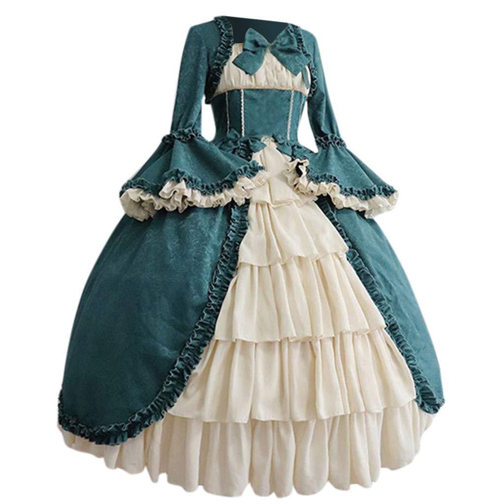 FEDULK Womens Vintage Gothic Formal Dress Court Square Collar Patchwork Bow Pleated Flared Dress S-5XL(Blue, Medium) by FEDULK