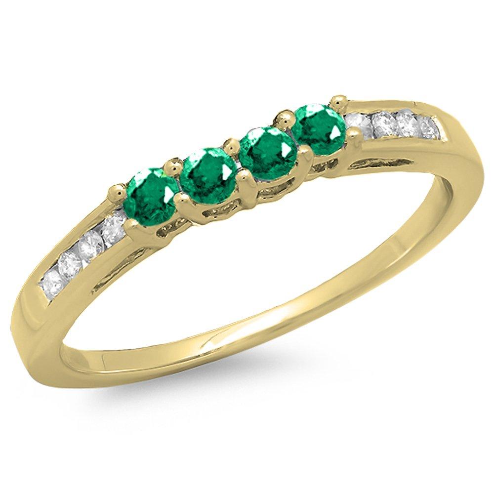 14K Yellow Gold Round Emerald & Diamond Ladies Bridal Anniversary Wedding Band Ring (Size 7)