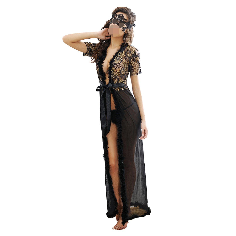 SUNNOW® Sexy Damen Kleider Masche Lange Robe Verlockend Unterwäsche Nachtwäsche Spitzekleid mit Fell