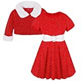 YiZYiF Baby Girls' Christmas Santa Costume Polka Dots Dress with Coat 2 Pieces Set 5T