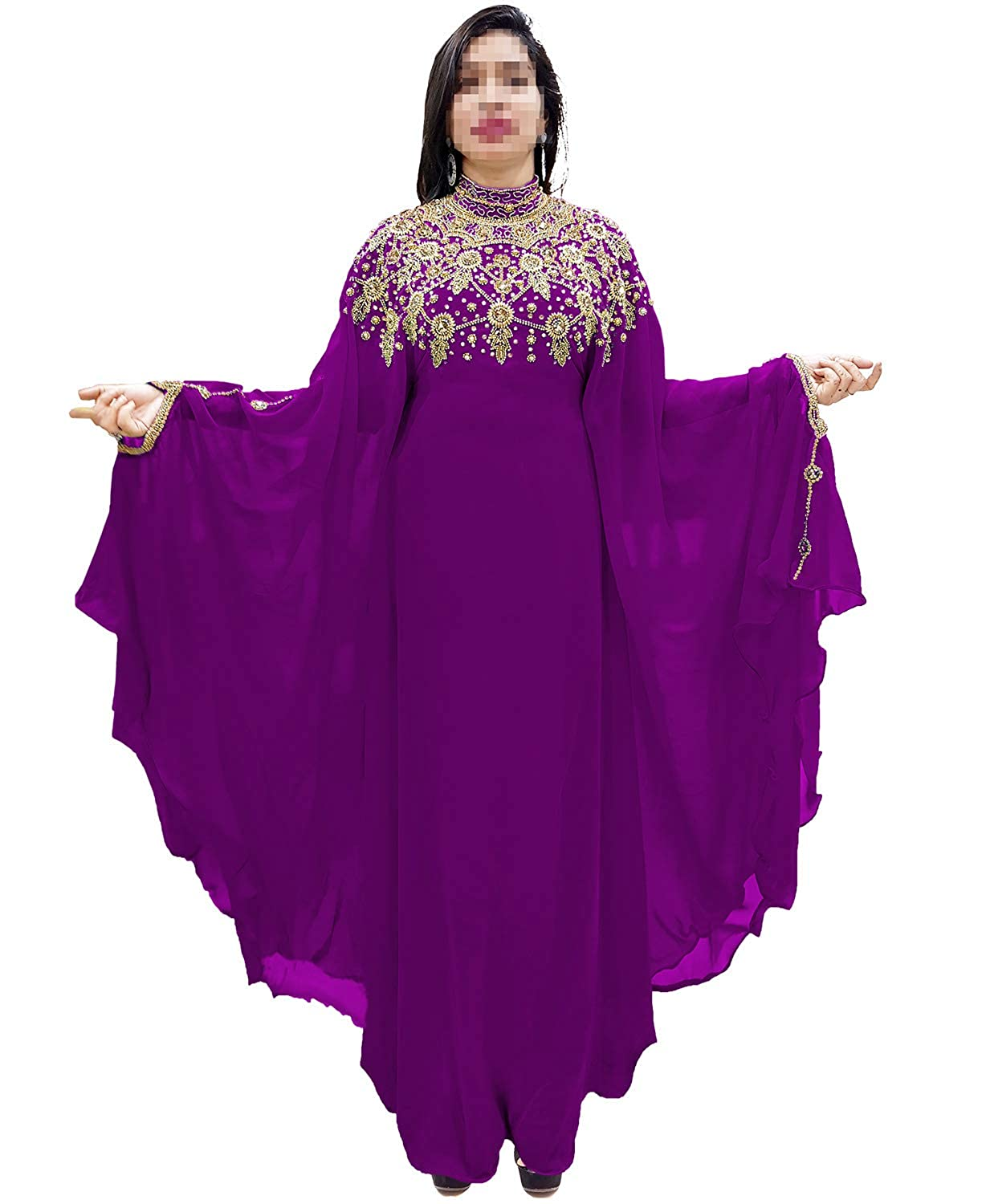 Purple African Boutique Dubai Kaftan Abaya Jalabiya Maxi Gown Hand Work golden Beaded African Dress