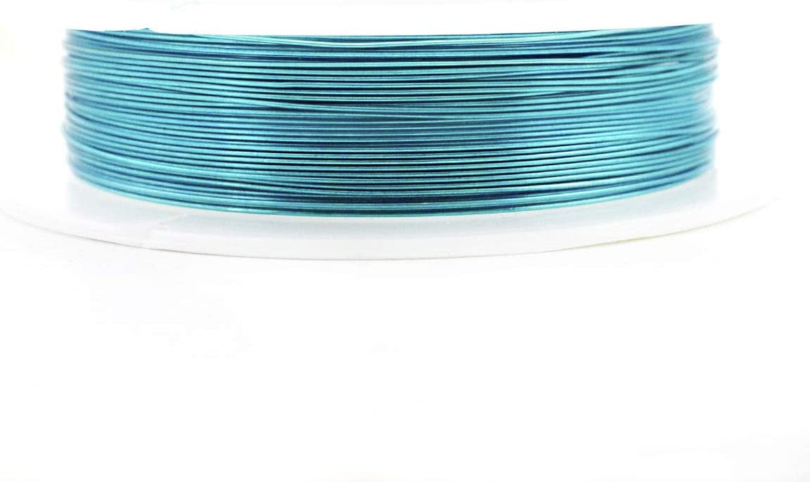 9m 30 10yrd Bleu Marine Envelopp/é Artistique Aluminium Perles de lArtisanat de Bijoux en Fil dEnrouler Sur une Bobine de Bijoux de Cordon Souple 0,4 mm Jauge 26