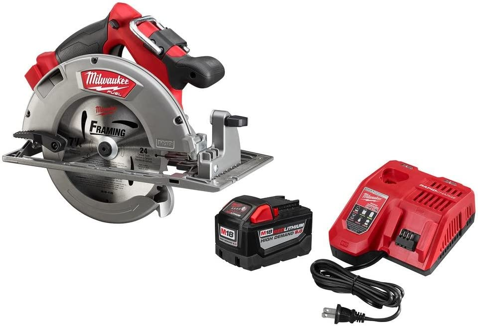 Milwaukee M18 FUEL 18-Volt Lithium Ion Brushless Cordless 7 1 4 in. Circular Saw with M18 18-Volt 9.0Ah Starter Kit Modern Hardware Power Tools for Your Carpentry Workshop or Machine Shop