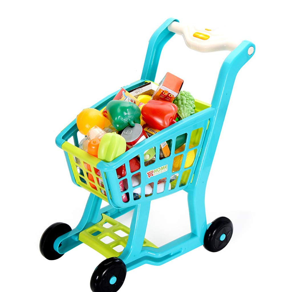 Besde Toys Children's Shopping Cart Toy Pretend Play Toy, Simulation Supermarket Toy with Groceries, Mini Shopping Cart with Full Grocery Food Toy Playset Educational Gift for Girls Kids (Blue)