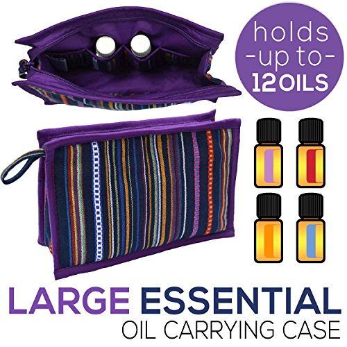 Eden Tote Bags - Large Essential Oil Bag for 10 - 12 Oils: 10 ml Roller Bottles and 5 ml 15 ml Size Bottles | Compact Carrying Case for EO Storage | Small Essential Oil Pouch for Travel, Purse, or Suitcase (Violet)