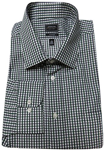 Arrow Fitted Spread Collar Check Dress Shirt | Elm 18 x 34/35