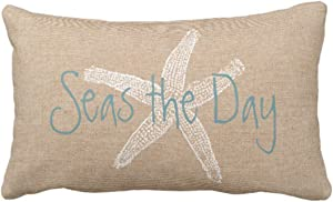 Emvency Throw Pillow Cover Seas the Day Vintage Starfish On Canvas Look Decorative Pillow Case Whimsical Home Decor Rectangle Queen Size 20x30 Inch Cushion Pillowcase
