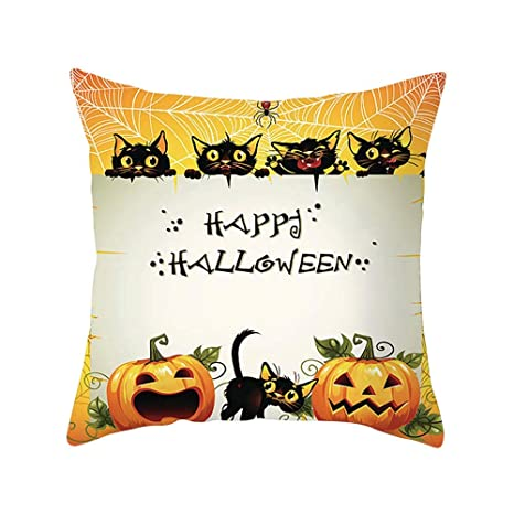 MAYOGO Happy Halloween Fundas de Cojín Beige Estampado ...