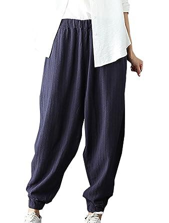 1305e3c539 Simple-Fashion Freizeit Einfarbig Baggy Pants Harem Trousers Damen Hosen  Classic Design Mode Neun Punkte