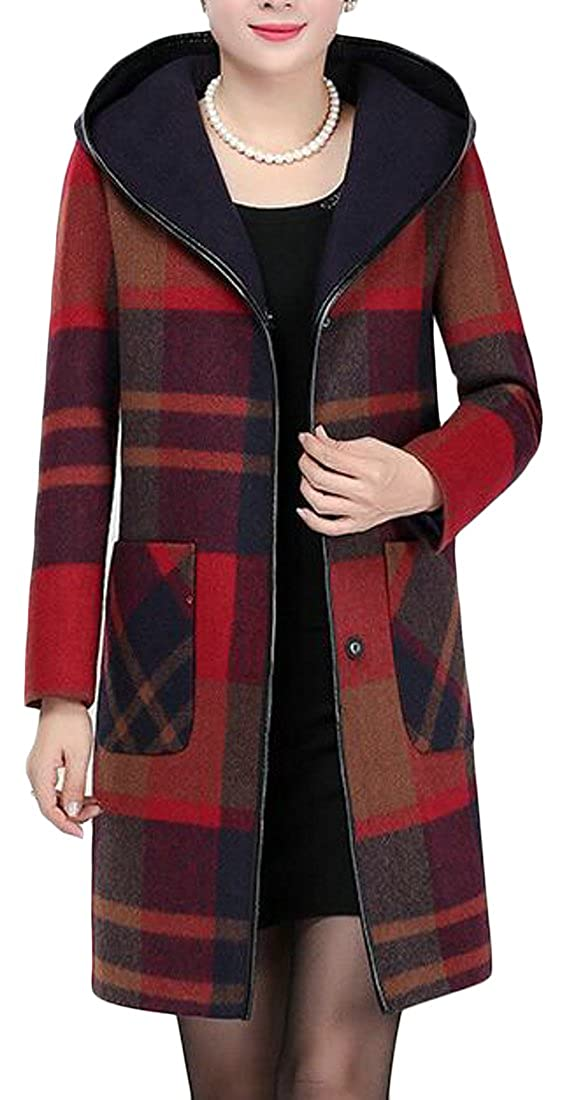 Sweatwater Womens Classic Slim Plaid Wool-Blend Hooded Outdoors Pea Coat