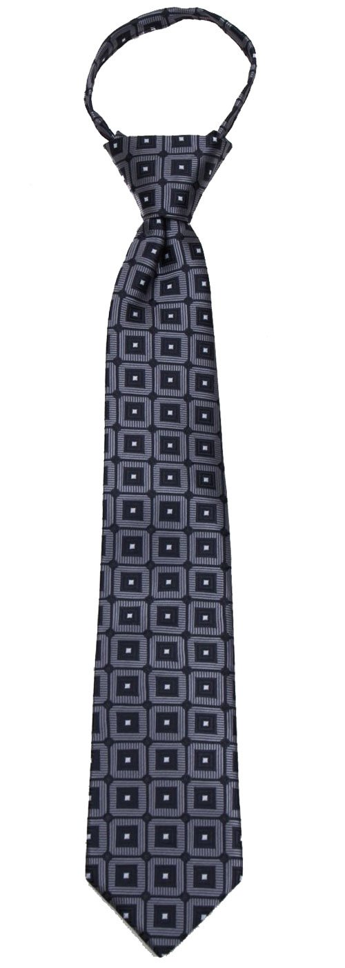 B-ZIP-12021 - Boys 14 inch Pre Made Pattern Geometrics Fashion Designer Zipper Necktie