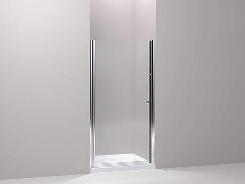 Kohler K-702416-L-SH Fluence Frameless Pivot Shower Door with Clear 1 4 Thick Glass, Bright Silver