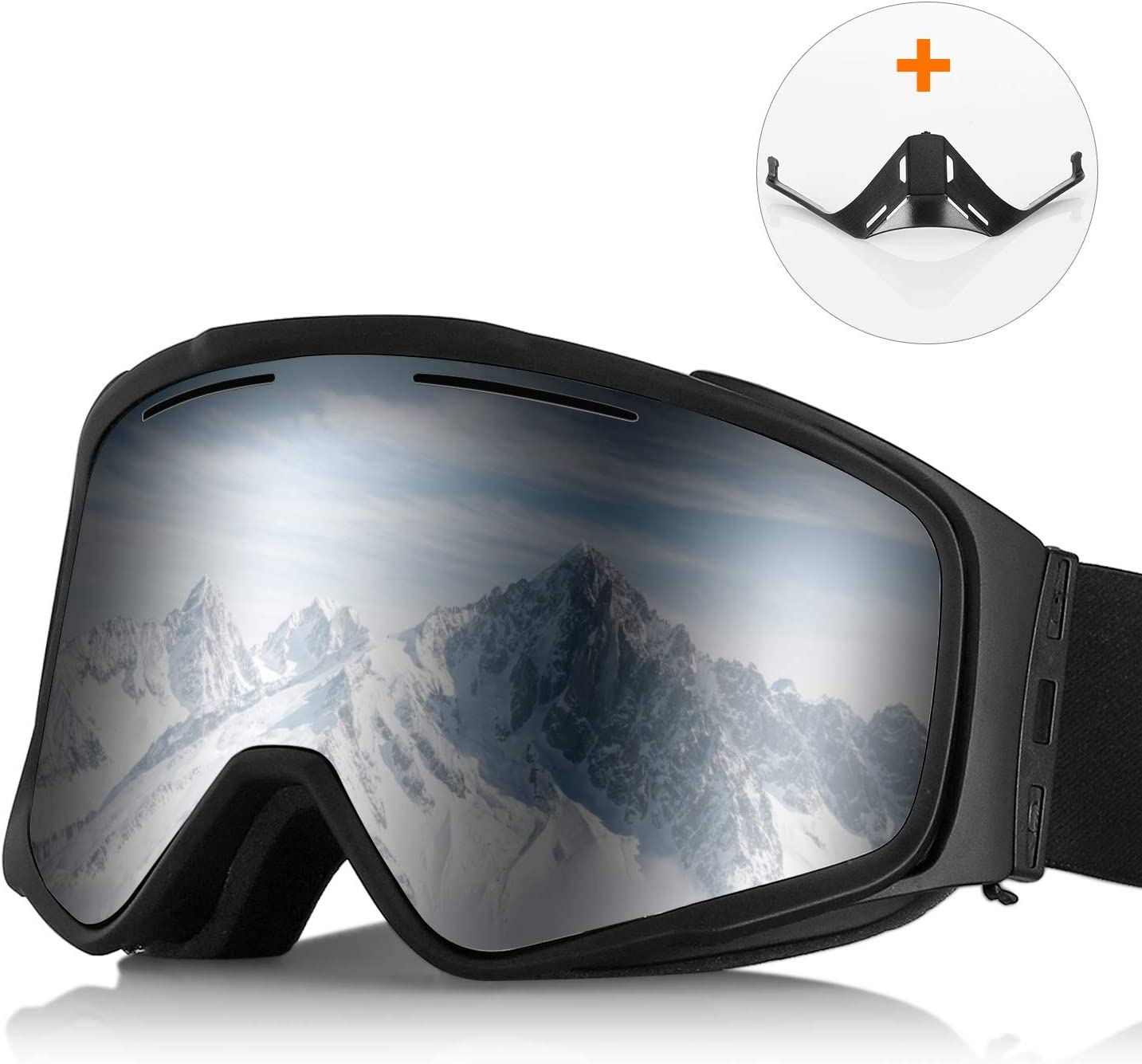 Ski Goggles/Snowboard Snow Goggles with Magnetic Interchangeable Lenses, Anti-Fog, Anti-Slip Strap, 100% UV Protection, Snow Goggles for Men Women