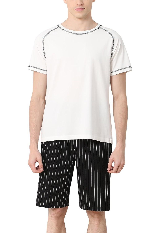 e97ef9bf0a Dolamen Homme Pyjamas, 2018 Hommes Ensemble de Pyjama Printemps été  vêtements de sport Coton Ensemble pyjama en, Mode et confort Manche Court  Pantalon Court ...