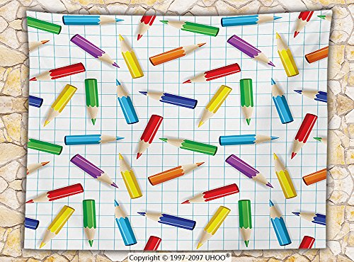 Children Fleece Throw Blanket Colorful Pencils on Checkered Board Kids School Education Creativity Art Image Throw Multicolor