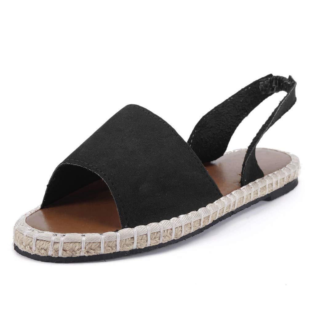 Women's Shoes for Women SYHKS Retro Women's Flat Ankle Strap Roman Slippers Sandals Ladies Beach Sandles for Women(Black,35)