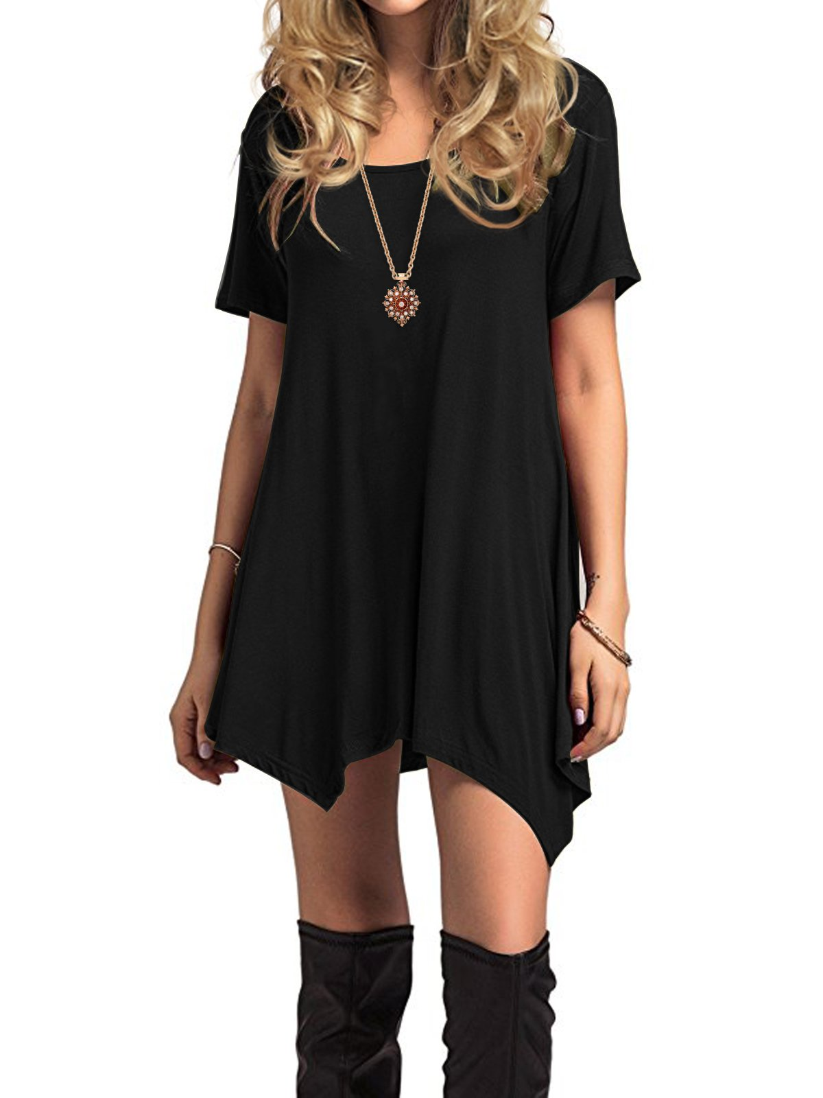 Century Star Womens Short Sleeve T-Shirt Dress Casual Loose Fit Tunic Dress Cute Swing T-Shirt Dress for Women Black Small