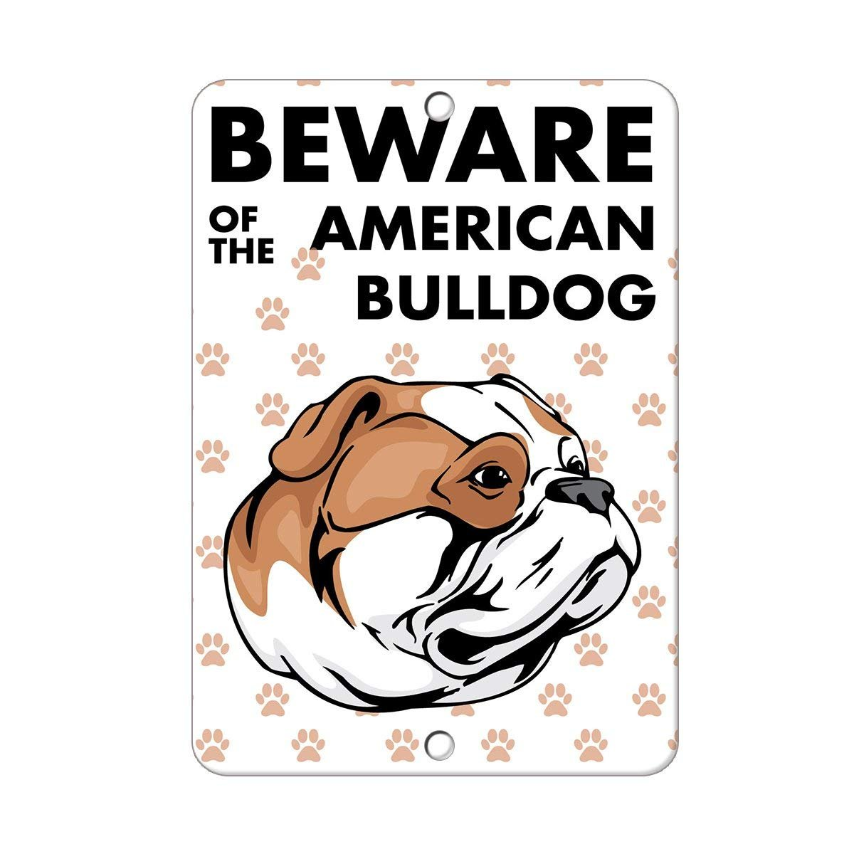 Beware of American Bulldog Dog Funny Sign Gift Metal Sign Wall Plaque Decoration Caution Sign Teisyouhu sign decoration