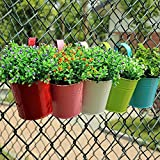 Garden Flower Pots/Hanging Flowerpots/Balcony Planters,Ulifestar Gardening Fence Flower Holders/Container/Vase/Vrn/ Barrier with Detachable Hook,Colorful Metal Iron Bucket for Home Decor,10 Pack