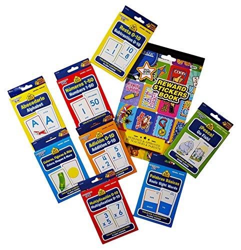 Bilingual Spanish/English Flash Cards 8-Pack. Plus Free Bonus 1 Reward Sticker Book.