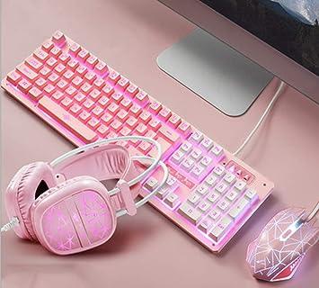 YYZLG Juego de teclado y ratón iluminados de tres piezas de ...
