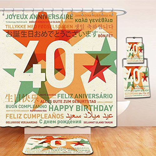 Beshowereb Bath Suit: Showercurtain Bathrug Bathtowel Handtowel 40th Birthday Decorations Happy Birthday From All Over the World Different Languages Retro - Premium Outlets Washington