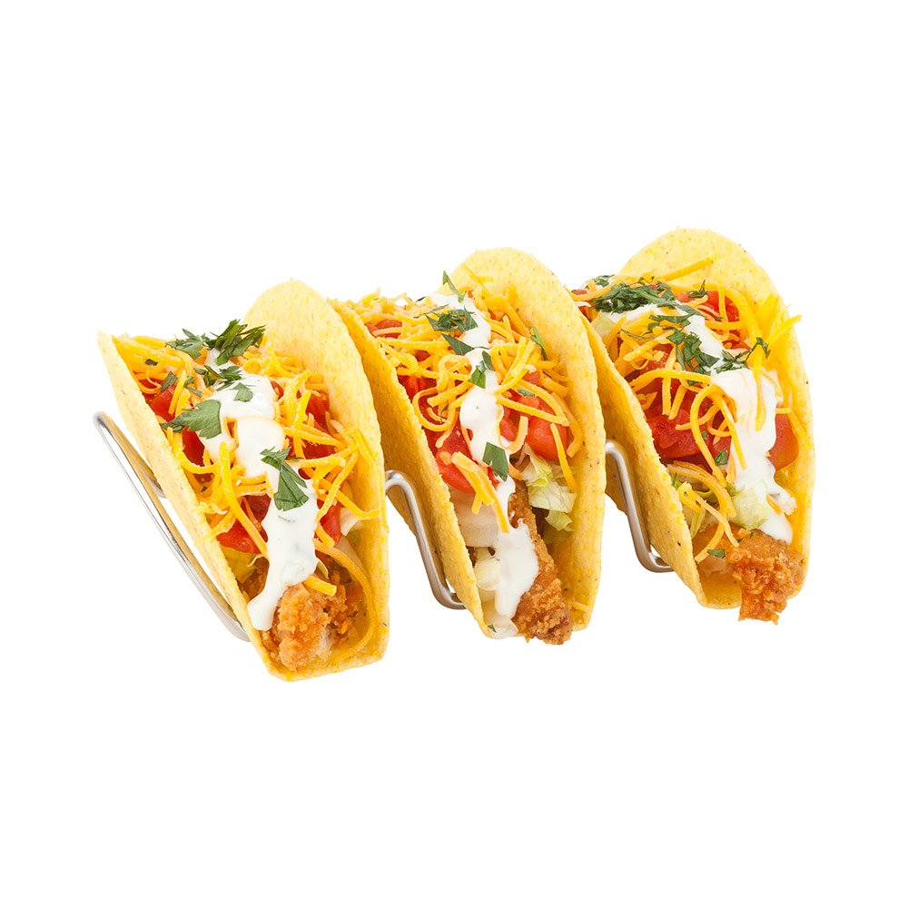 Taco Rack, Taco Stand, Taco Holder - Holds 3 Tacos, Hard or Soft Shell - Stainless Steel - 6.7 Inches - 1ct Box - Restaurantware