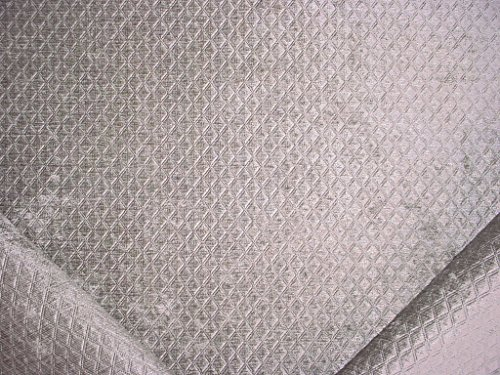 2RL8 - Silver Grey Gray Trellis Lattice Diamond Geometric Velvety Chenille Designer Upholstery Drapery Fabric - By the Yard