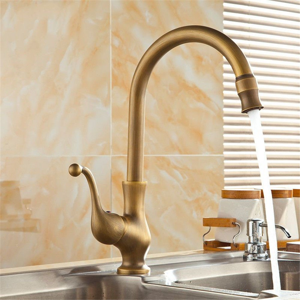 AQMMi Basin Sink Mixer Tap for Lavatory Antique Brass Hot and Cold Water Valve Brass Bathroom Vanity Sink Faucet