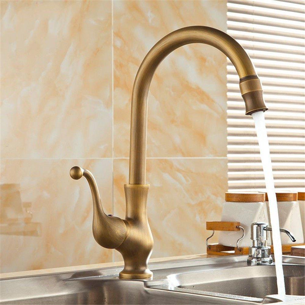 Moderne Küche Wasserhahn Messing Spüle Tippen Sie auf Warmes und Kaltes Wasser hoch Mischbatterie Waschbecken Waschtisch Armatur massiv Messing Material Waschtischmischer Tippen Sie auf