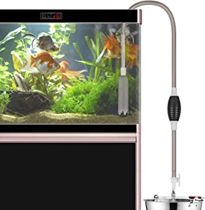 Jhua Fish Tank Gravel Cleaner, Aquarium Vacuum Gravel Cleaners 7.87FT Aquarium Cleaner Siphon Vacuum Pump Gravel Cleaner, Water Changer Self Priming with Adjustable Flow Control for Large Fish Tank