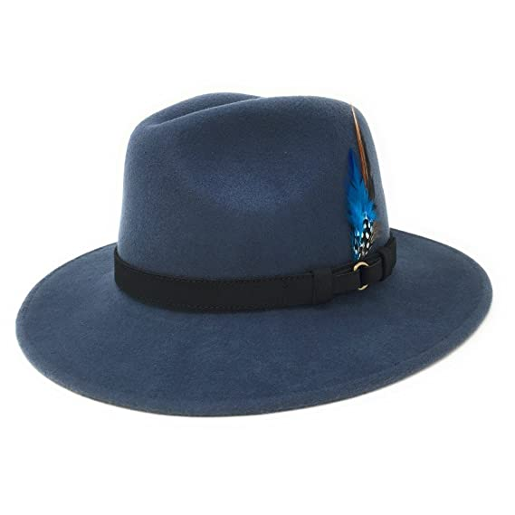 903c79d65d8f5 Cotswold Country Hats Womens Fedora Hat. Showerproof - Teflon Coated. Wool.  Leather Belt Trim. Removable Feather  Amazon.co.uk  Clothing