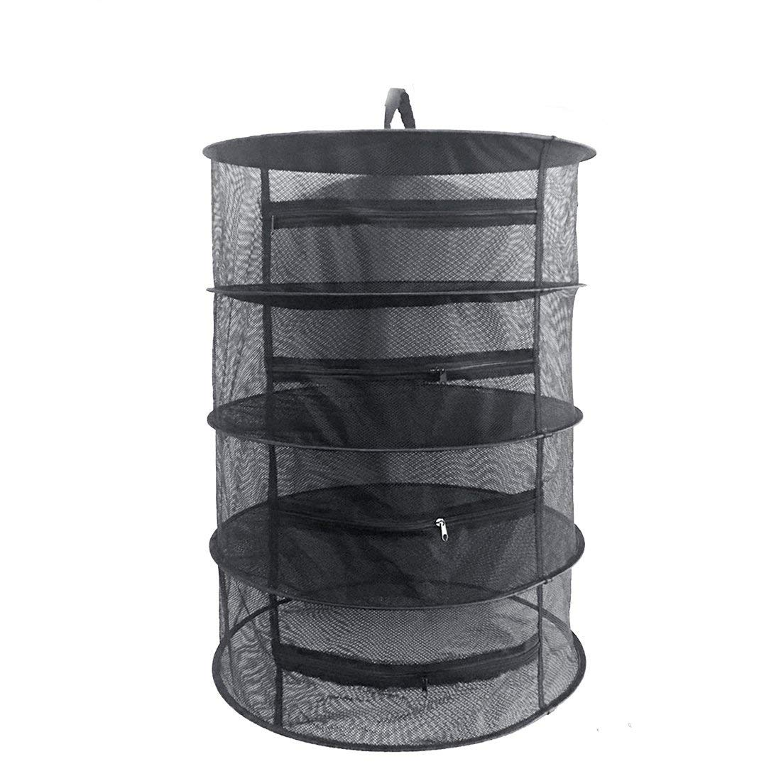"Herb Drying Rack Net 4 Layer Herb Dryer Black Mesh Hanging Dryer Rack with Zipper (31.5""x24"")"