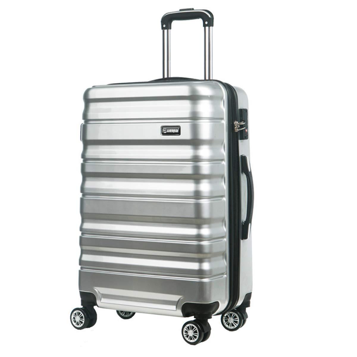 ユニセックス軽量ハードシェルトラベルトロリースーツケース荷物セットホールドオールキャビンケース,silver,24in B07RBV6BJ4 silver 24in