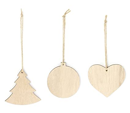 assorted christmas ornament gifts wooden christmas tree ornaments 3 piece bundle - Wooden Christmas Ornaments
