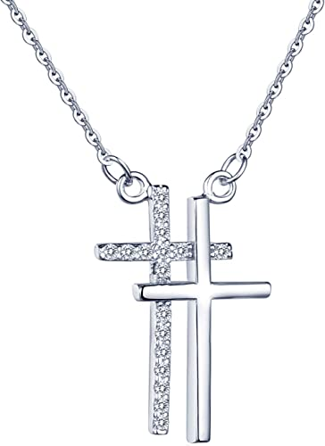 0.50 Ct Cubic Zirconia Sterling Silver Cross Pendant with chain