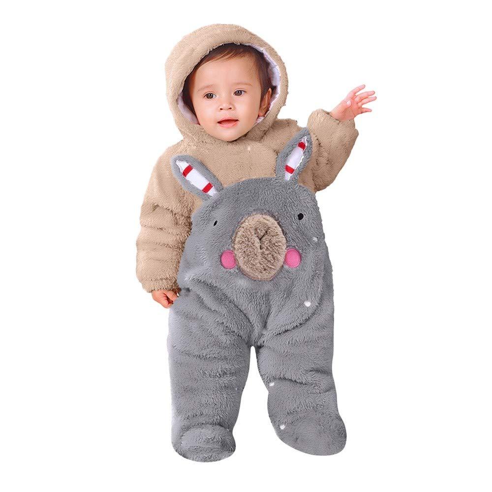 BaZhaHei Ropa Bebe NiñA Invierno NiñO Manga Larga Camisetas Beb Conjuntos Moda Bebé ReciéN Nacido NiñA De Dibujos Animados Oso De Terciopelo con Capucha Overol Mameluco Ropa Bebé de Terciopelo Mono