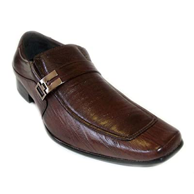 Delli Aldo New Mens Leather Dress Shoes Buckle Strap Loafers Slip ON/BROWN18612 | Loafers & Slip-Ons