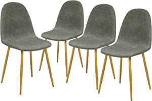 GreenForest Dining Chairs Set of 4, Waterproof PU Leather Side Chairs Mid Century Modern Upholstered Accent Chairs for Kitchen Living Room with Sturdy Metal Legs, Easy to Assemble,Grey