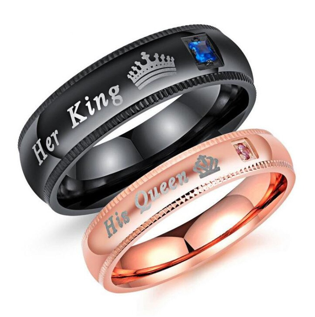 Canarea 1 Pcs Verlobungsringe Partnerschaftsringe Trauringe Damen Herren Paar Titanstahl mit Zirkonia King Queen Ring-Schmuck Hochzeit Trauringe Memoir-Ringe
