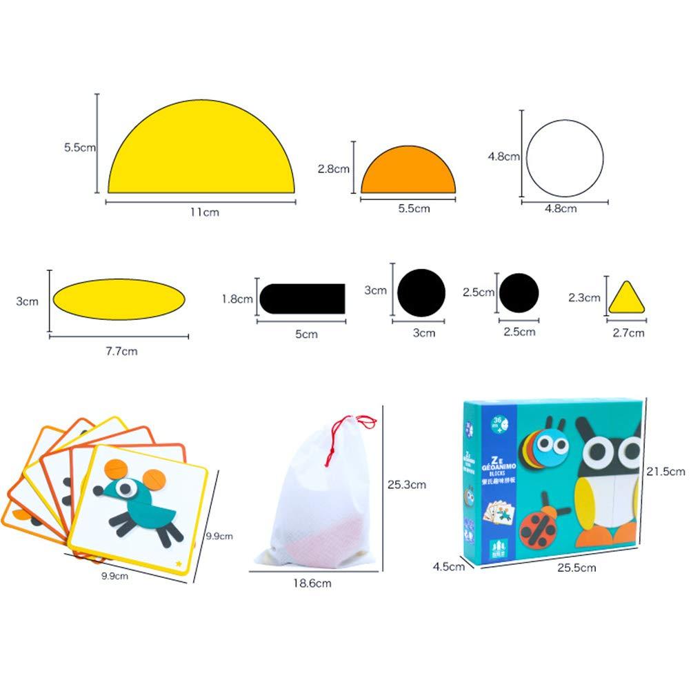 Egosy A Set Pattern Blocks And Boards Classic Toy Puzzle in Legno Cervello Allenamento Geometria Giochi Blocchi Modello per Bambini prescolari o Asilo Form