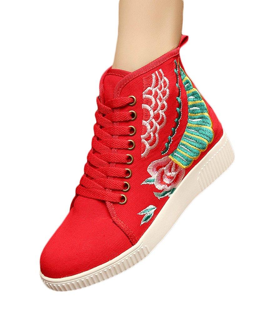 Insun Zapatos de Cordones Para Mujer Alpargatas de Mujer con Bordado 39 EU|Rojo