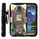 S5 Active Case, S5 Active Holster, Two Layer Hybrid Armor Hard Cover with Built in Kickstand and Art Pattern Designs for Samsung Galaxy S5 V Active SM-G870 (AT&T) from MINITURTLE | Includes Screen Protector - Reptile R