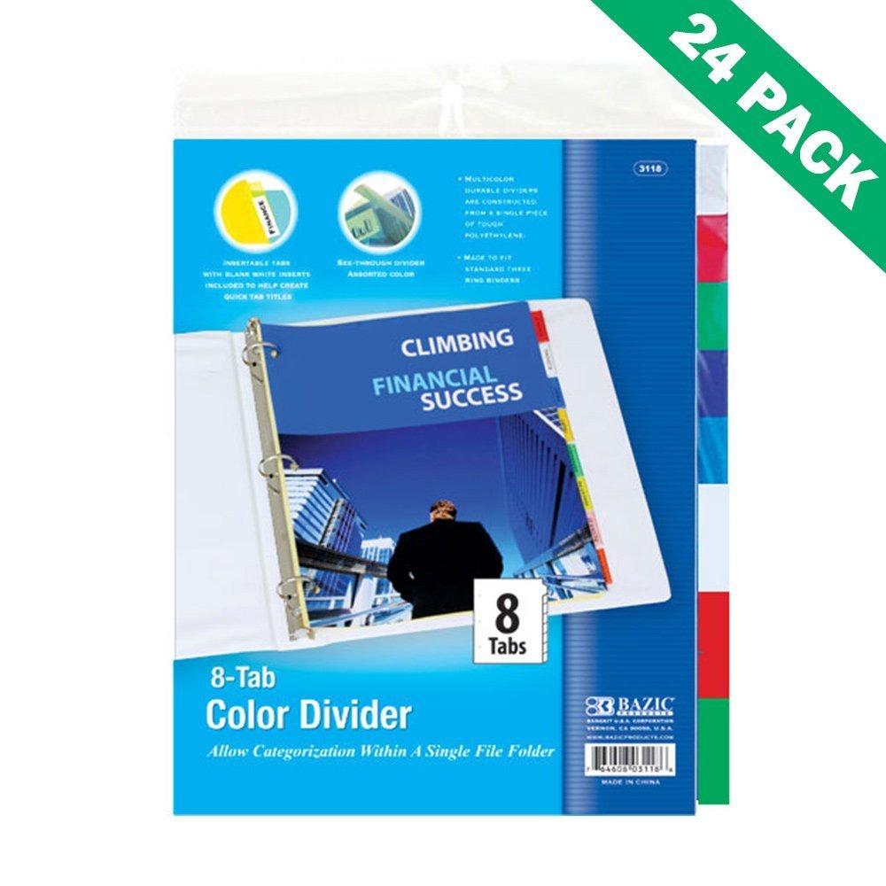 3 Ring Binder Dividers, 24 Unit Pack Of Bazic 8-tab School Binders Dividers