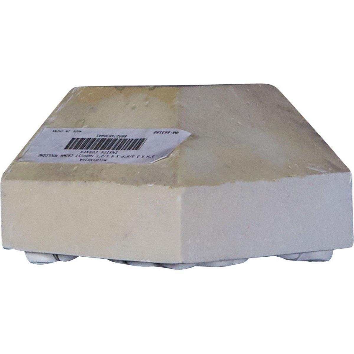 Ekena Millwork MIC03X03HA 3H x 3 3//8P x 4 1//2F Harvest Crown Moulding Inside Corner Factory Primed White